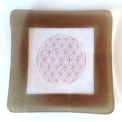 Flower of Life thick glass tray (brown surround)