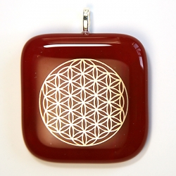 Platinum flower of life pendant - red