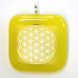 Platinum Flower of Life pendant - handmade yellow glass