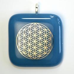 Platinum Flower of Life pendant - Egyptian blue glass