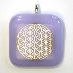 Platinum Flower of Life pendant - purple glass