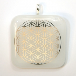 Platinum Flower of Life pendant - white glass