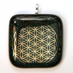 Platinum Flower of Life pendant - sparkling peacock glass