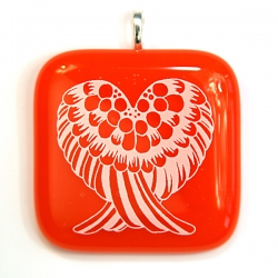 Angel wings pendant on orange glass - sacral chakra