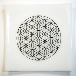 Platinum Flower of Life Chakra Balancing white glass plate