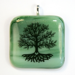 Tree of life pendant on green glass - wood element, new growth