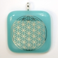 Platinum Flower of Life pendant - turquoise glass