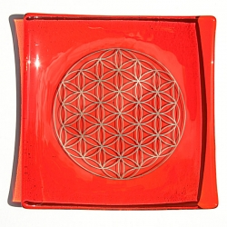 Platinum Flower of Life Chakra Balancing glass plate - Sacral - Orange