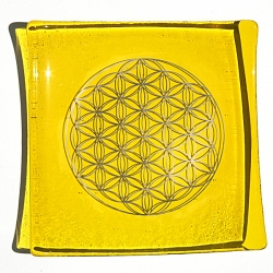 Platinum Flower of Life Chakra Balancing glass plate - Solar Plexus - Yellow