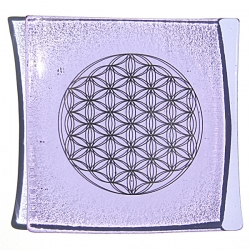Platinum Flower of Life Chakra Balancing glass plate - Crown chakra - violet