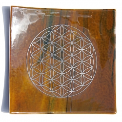 Earth element - platinum flower of life energy balancing glass plate