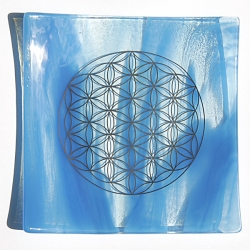 Water element - Platinum Flower of Life energy balancing glass plate