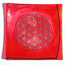 Fire element - Platinum Flower of Life energy balancing glass plate