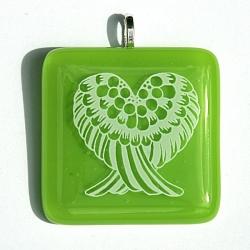 Angel wings pendant on green glass - heart chakra