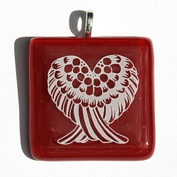 Angel wings pendant on red glass - base chakra