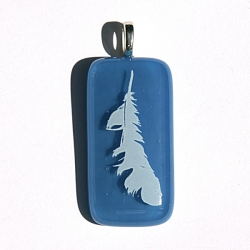 Angel feather pendant on Egyptian blue glass - third eye chakra