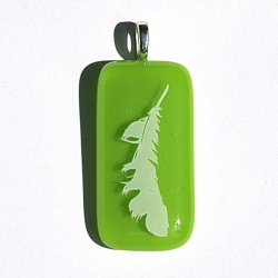 Angel feather pendant on green glass - heart chakra