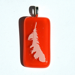 Angel feather pendant on orange glass - sacral chakra