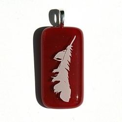 Angel feather pendant on red glass - base chakra
