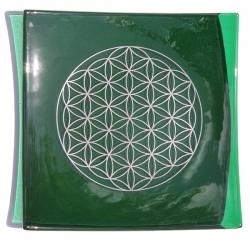 Platinum Flower of Life Chakra Balancing glass plate - Heart chakra