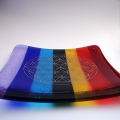 Seven Chakras Platinum Flower of Life handmade glass plate