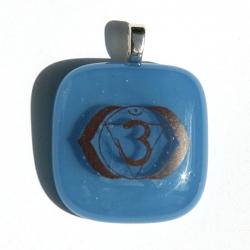Third eye symbol pendant - Egyptian blue glass - square