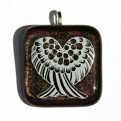 Angel wings pendant on iridescent bronze glass
