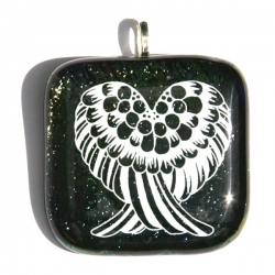 Angel wings pendant on iridescent peacock glass