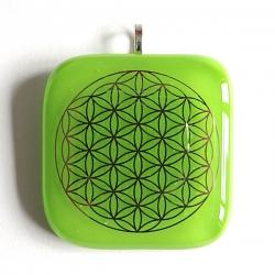 Platinum Flower of Life pendant - green glass