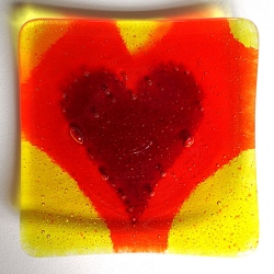 Heartscape plate - red, orange and yellow