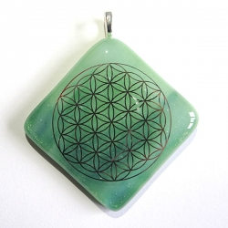 Platinum Flower of Life pendant - sparkling green glass - diamond shape