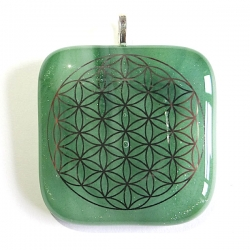 Platinum Flower of Life pendant - sparkling green glass - larger flower of life symbol