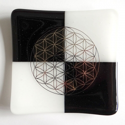 Platinum Flower of Life on black and white square glass plate