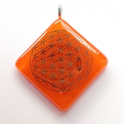 Platinum Flower of Life pendant - Orange glass