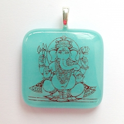 Small Ganesh pendant - turquoise