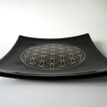 Platinum Flower of Life glass plate - Black