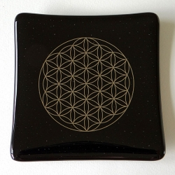 Platinum Flower of Life glass plate - Black - deeper glass, more bubbles :-)