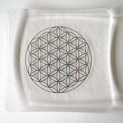Platinum Flower of Life embedded in a clear glass plate - deeper glass more bubbles :-)