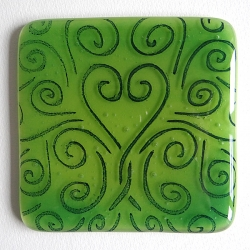 Heart flow coaster in shades of green and deep blue