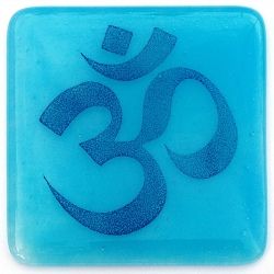 Om coaster - indigo on light blue