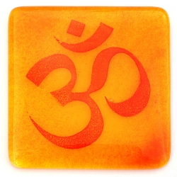 Om coaster - red on yellow and orange blend