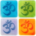 Set of four Om coasters - includes all chakra colours