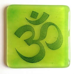 Om coaster in indigo on blended green