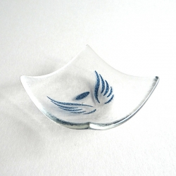 Angel wings bowl in clear glass