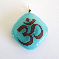 Om pendant in turquoise blue glass - throat chakra