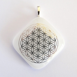 Flower of Life pendant - platinum on white glass - diamond shape