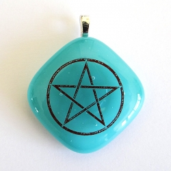 Pentagram pendant in turquoise blue glass