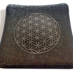 Galactic Platinum Flower of Life handmade sparkling black glass plate
