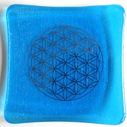 Galactic Platinum Flower of Life handmade sparkling turquoise blue glass plate