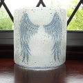 Angel Wings Sconce - small light and candle screen - white blend